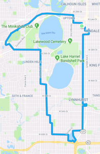 Map of the route from home over to the art fair in St. Louis Park, then south to Grass Lake and then returning home
