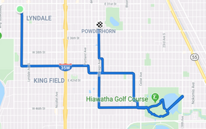 Map of my route from home, to Lake Hiawatha and finishing at Kellie's studio.