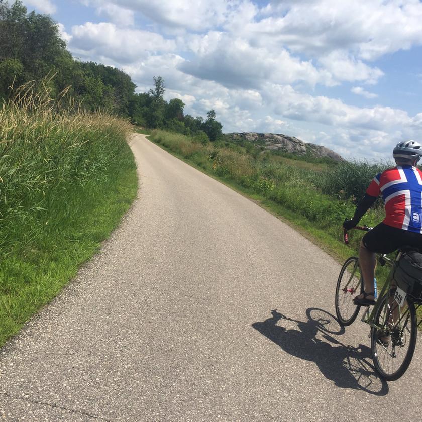"Biking down the ""auto tour"" road in my Norwegian biking jersey"