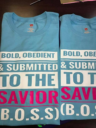 B.O.S.S Shirt: Baby blue, white and hot pink