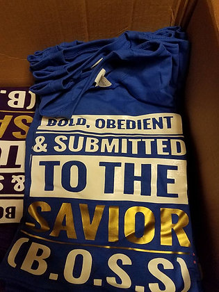 B.O.S.S Shirt: Blue, white and gold
