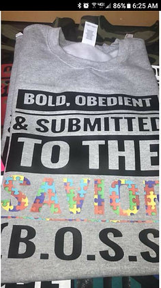 B.O.S.S Shirt: Grey, black and autism style