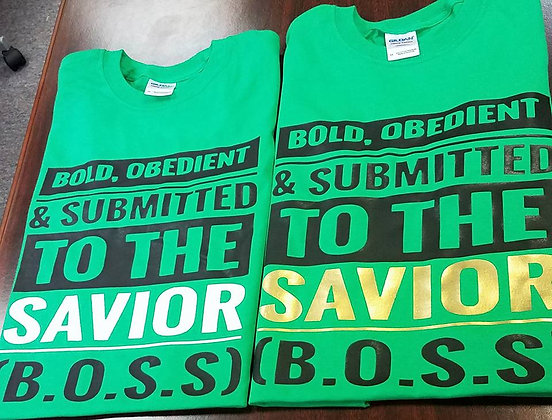 B.O.S.S Shirt: Green, black and gold