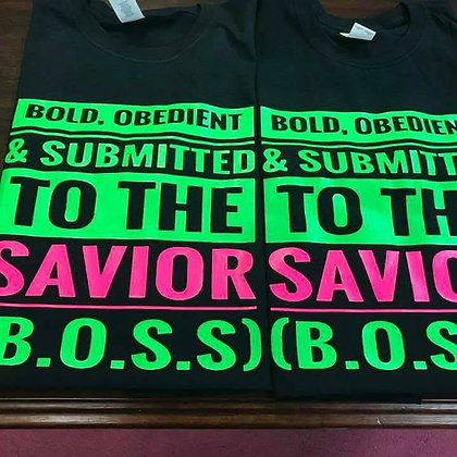 B.O.S.S Shirt: Black, lime green, and hot pink