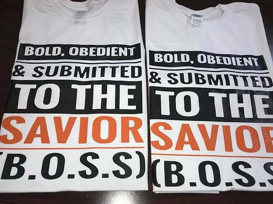 B.O.S.S Shirt: White, Black and orange