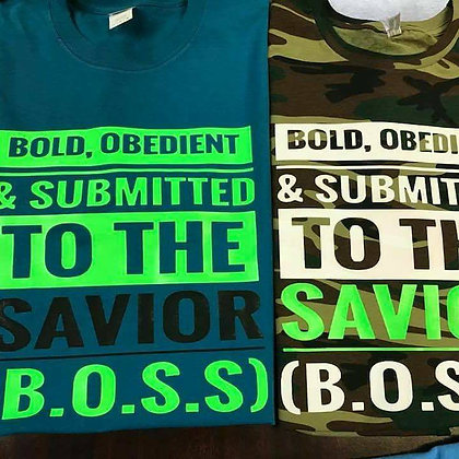 B.O.S.S Shirt: Dark Teal/Camo, neon green/white and Black/neon green