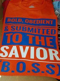 B.O.S.S Shirt: Orange, blue and white