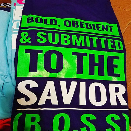 B.O.S.S Shirt: Navy Blue, neon green and white