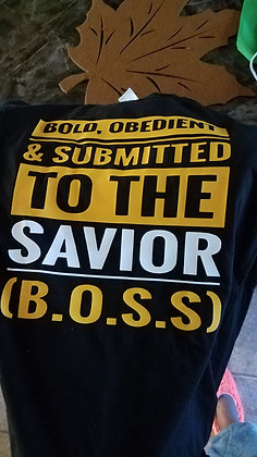 B.O.S.S Shirt: Black yellow and white