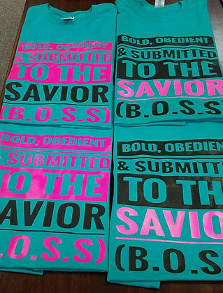 B.O.S.S Shirt: Teal, black and/or hot pink