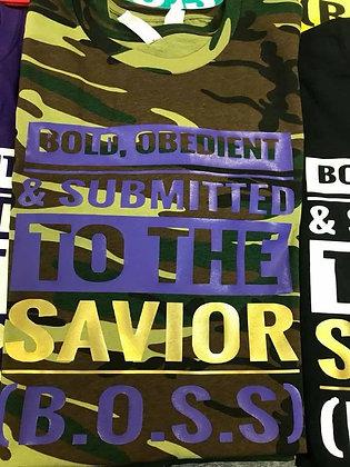 B.O.S.S Shirt: Camo, purple and gold