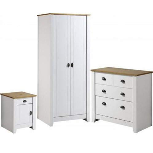 Seconique Ludlow White/Oak Trio Bedroom Set