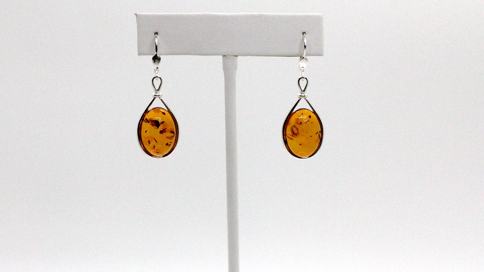 Silver/Amber Large Cabochon Earring Set