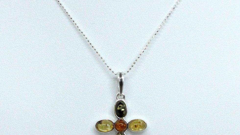 Silver/Amber  Cabochon Cross Pendant