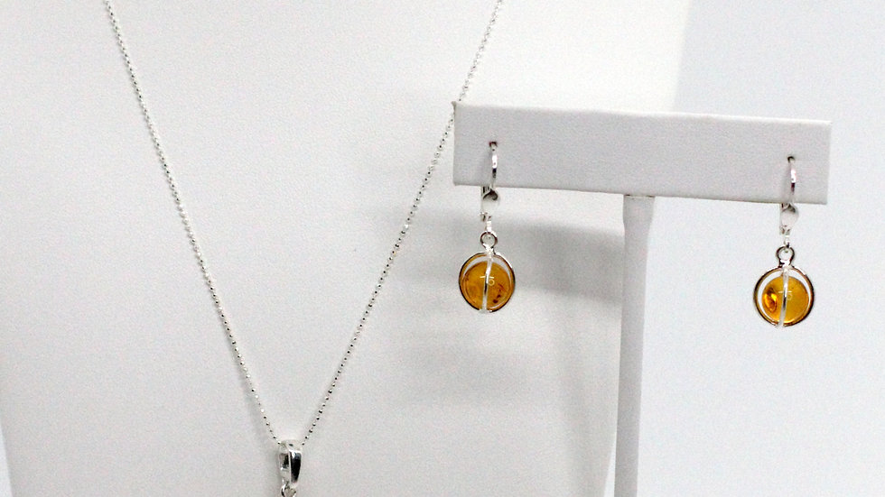 Silver/Amber Cage Earring and Pendant Set