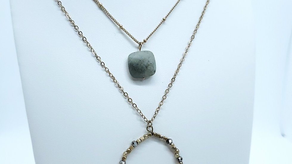 Labradorite Layered Fashion Necklace