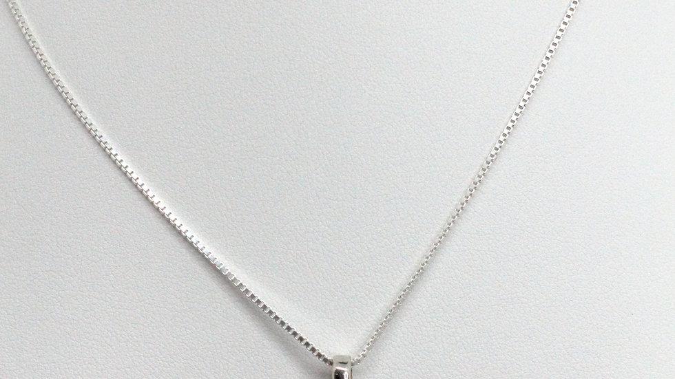 Silver/Amber Circle Cabochon Pendant