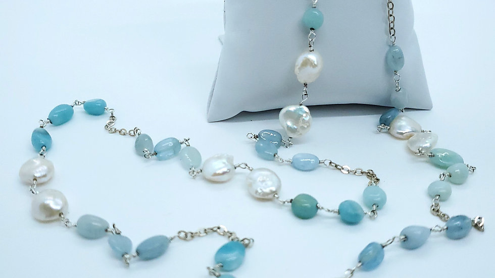Larimar and Button Pearl Necklace