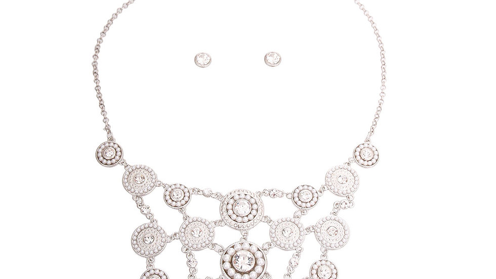 White Pearl and Stone Bib Necklace and Earring Set