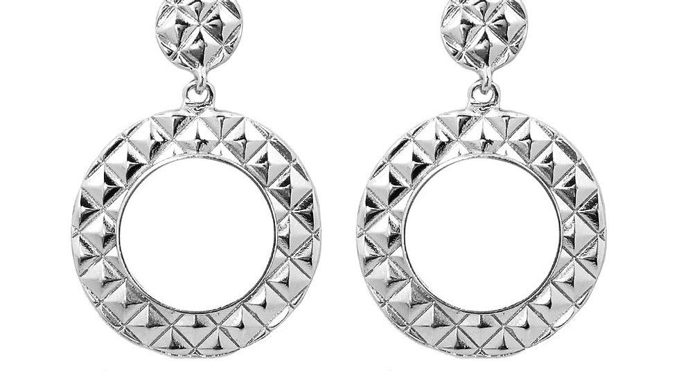 Rhodium Plated Circle Earrings