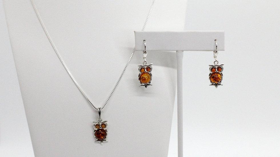 Silver/Amber Owl  Pendant & Earring Set