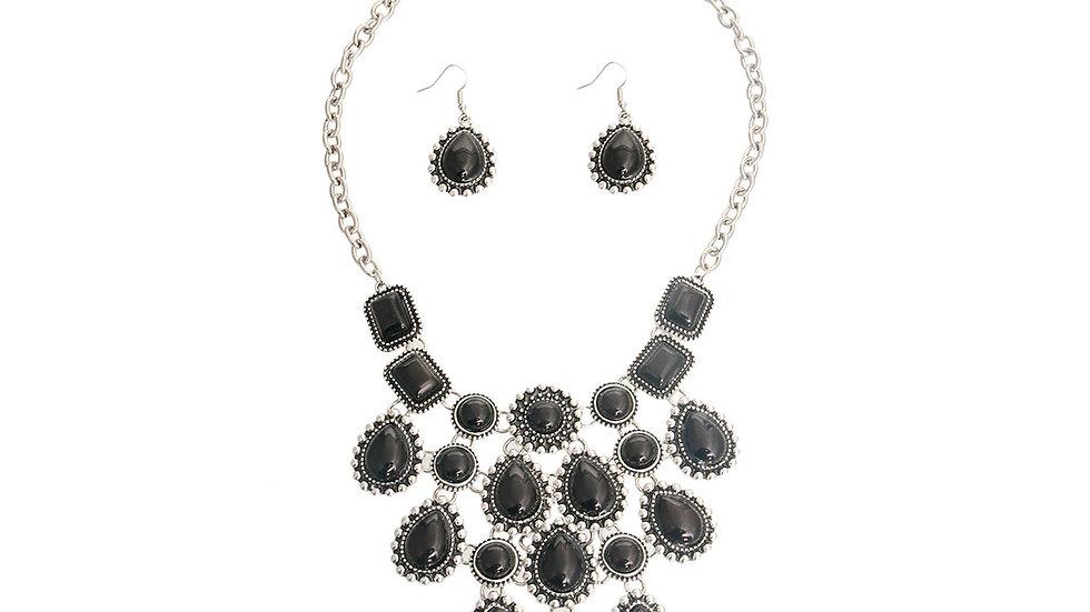 Black Teardrop Boho Necklace