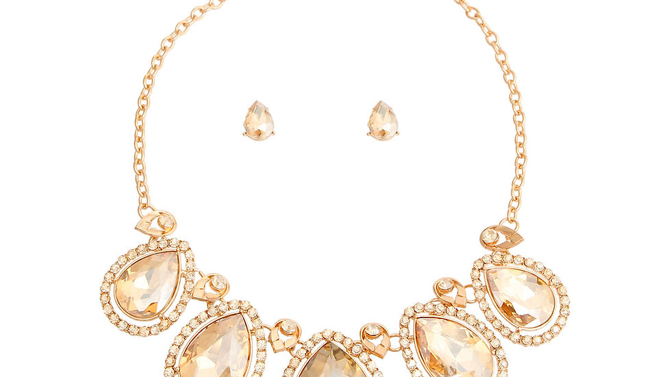 Topaz Crystal Teardrop Necklace and Earring Set