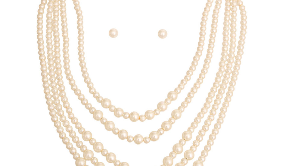 Gold Plated Cream Pearl Long 5 Strand Set
