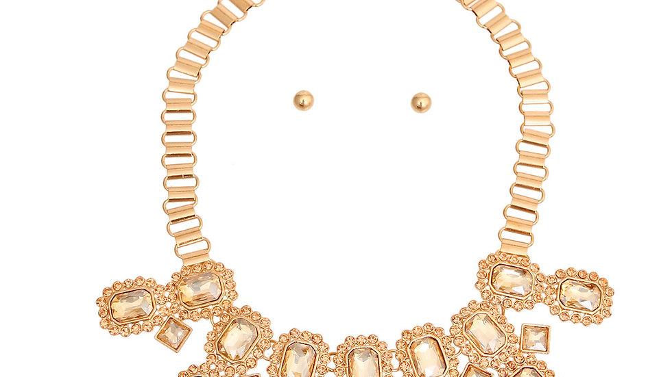 Topaz Radiant Cut Crystal Necklace & Earring Set