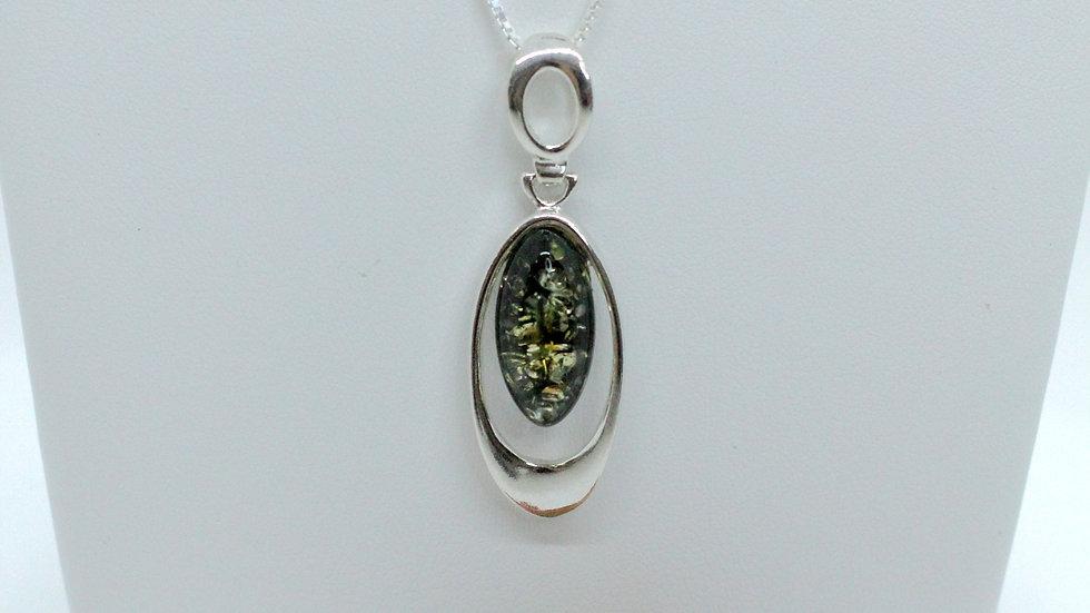 Silver/Amber Elegant Green Pendant