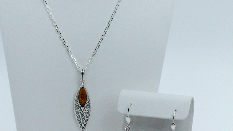 Silver/Amber Filigree Earring and Pendant Set
