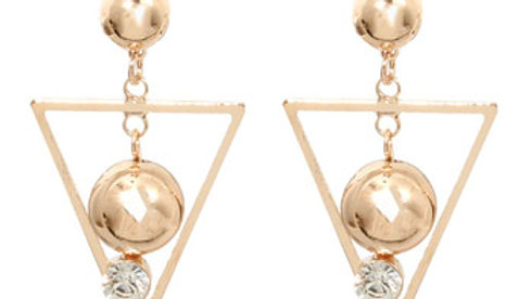 Triangle Gold Plated Ball Earrings