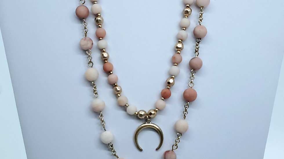 Pink Stone/Metal Bead/ Crescent Pendant Necklace