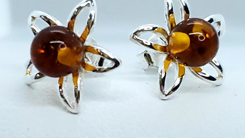 Silver/Amber Floral Earring Set