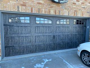 Oak Slate grey clopay gallery garage door installed in Guelph