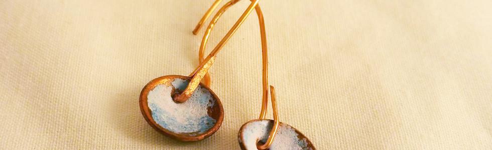 Copper Earrings, Blue & White