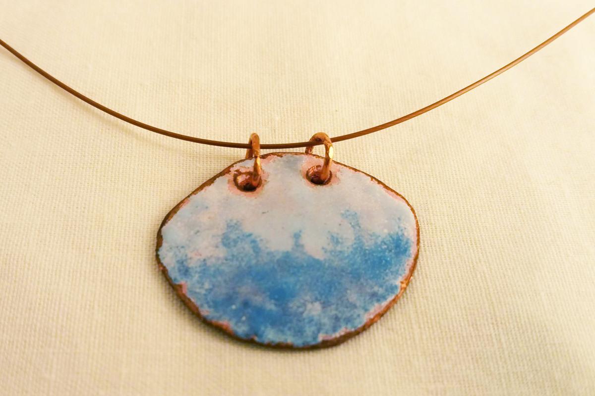 Copper Enameled Necklace, Blue & White
