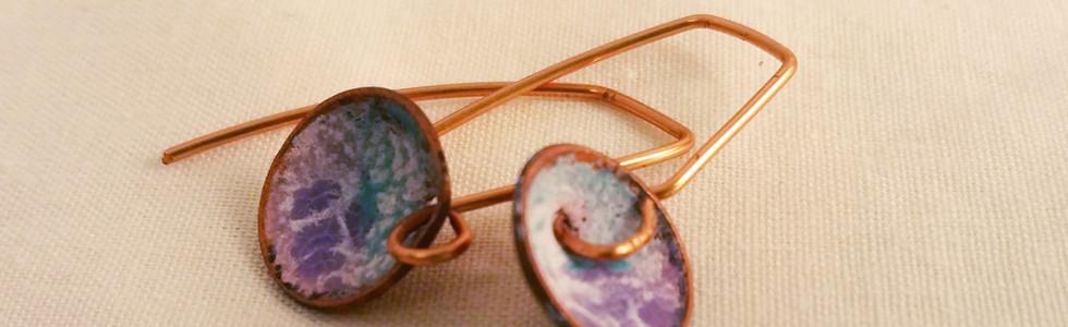 Copper Earrings, Purple & Blue