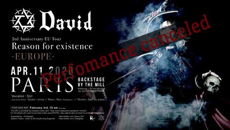 CANCELLATION OF DAVID'S CONCERT IN PARIS