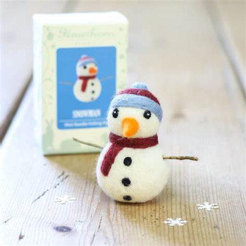 Mini Snowman Needle Felting Kit