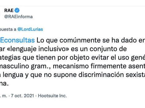 #TuitDeLaSemana - El uso genérico del masculino gramatical no supone discriminación sexista