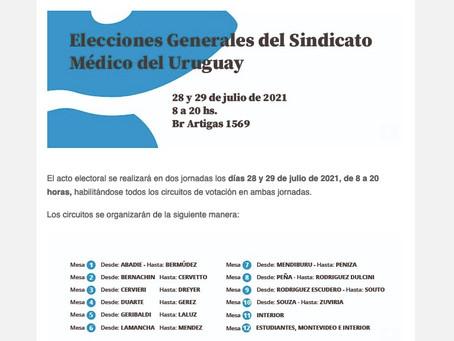 El Sindicato Médico del Uruguay elige autoridades:  se vota miércoles y jueves