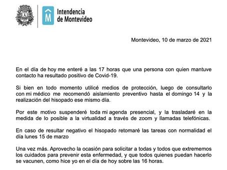 La intendenta de Montevideo Carolina Cosse canceló toda su agenda presencial