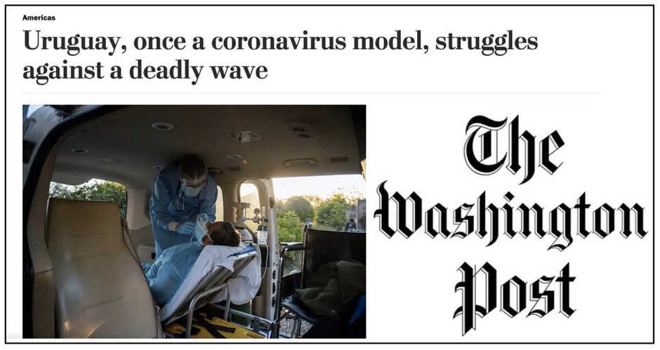 Malas noticias: Washington Post destacó liderazgo uruguayo en nuevos casos y muertes por COVID-19