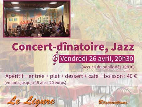Concert-dînatoire Jazz vendredi à Nice