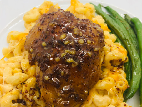 Famous Chicken (maple, mustard, garlic), Asiago Mac and Cheese, Roasted Green Beans