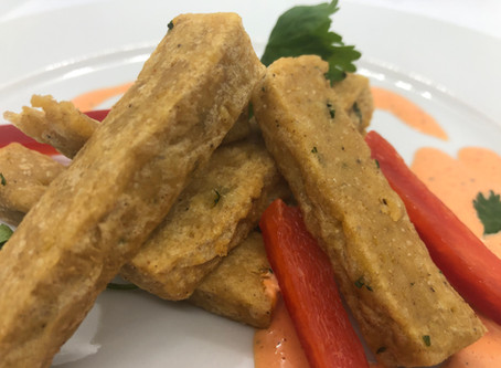 Chickpea Fries with Roasted Red Pepper Dipping Sauce