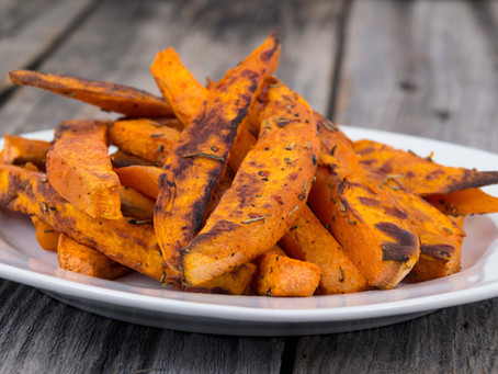 Grilled Sweet Potatoes with red wine vinegar gastrique