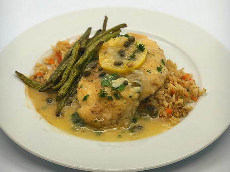 Gluten Free/Dairy Free Lemon Caper Chicken with Brown Rice and Balsamic Roasted Green Beans