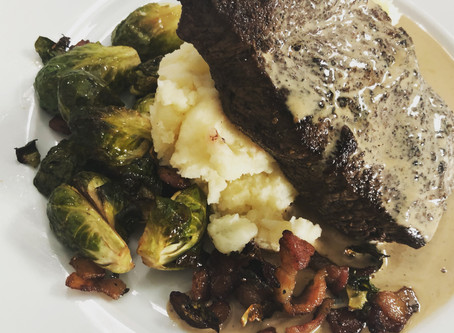 Coffee Rubbed Flat Iron with Au Jus Cream Sauce, balsamic bacon roasted Brussels, mashed potatoes